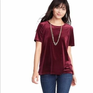 Old Navy Crushed Wine Maroon Red Velvet Tee size M